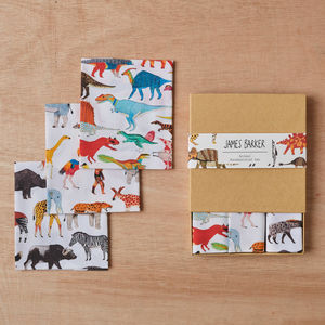 Animals Handkerchief Pocket Square Gift Set Of Three