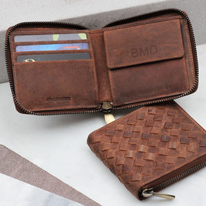 Personalised Woven Leather Rfid Protected Zip Wallet - mens