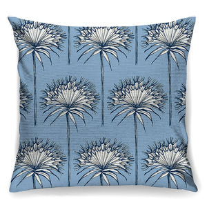 Airy Blue Cottton Bud Designer Cushion + Waterproof - living room