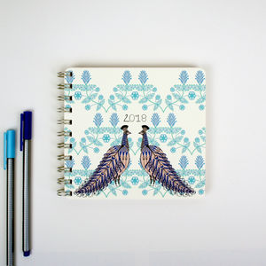 2018 Diary Folk Peacock - stationery-lover