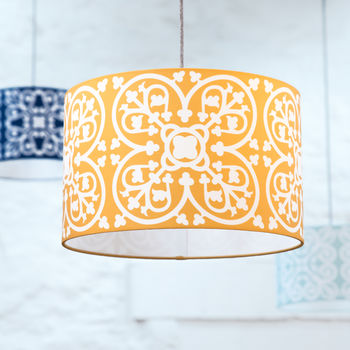 Moroccan Tile Lampshade In Mustard