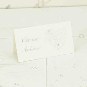 Ice Snowflake Heart Place Card