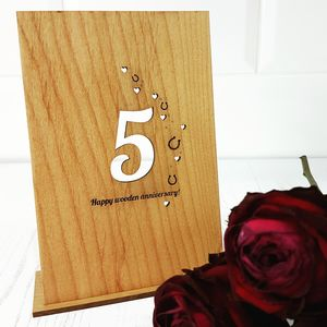 5th Wooden Anniversary Card - 5th anniversary: wood