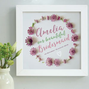Personalised Bridesmaid Thank You Framed Print