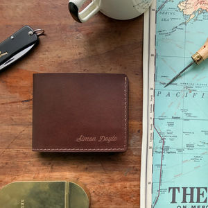 Personalised Slim Billfold Leather Wallet - personalised accessories