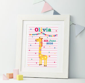 Girls Personalised Giraffe Nursery Framed Print