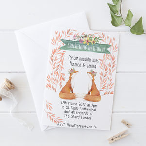 Twins Christening Invitations - invitations