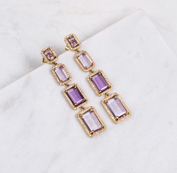 Electra Amethyst Long Earrings