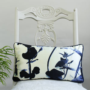 Cyanotype Stems Botanical Floral Luxury Silk Cushion