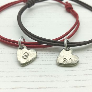 Personalised Couples Heart Bracelets