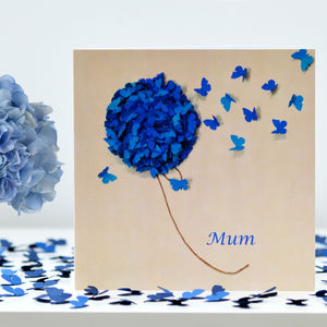 Mum Birthday Card Blue Hydrangea Butterflies