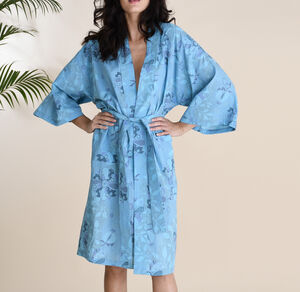 Cotton Wrap Kimono In Blue Spring Patchwork