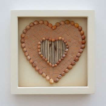 Framed Shells And Driftwood Orange Heart Mosaic Picture