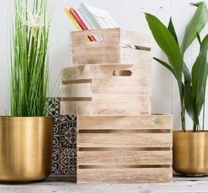Personalised Set Of Three Wooden Crates - living room