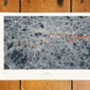 Metallic London Thames Map Print In Navy