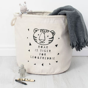 Personalised Monochrome Tiger Kids Toy Box Tub Storage