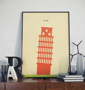 Leaning Tower Of Pisa Landmark Print - posters & prints
