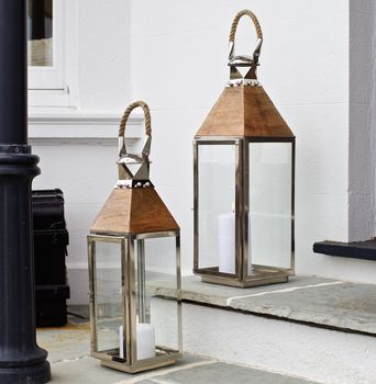 Stainless Steel And Wood Candle Lantern