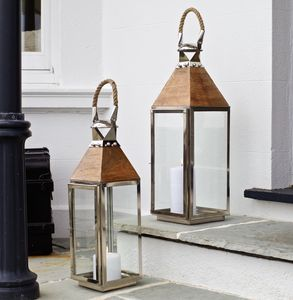 Stainless Steel And Wood Lantern - outdoor lights