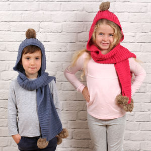 Personalised Child's Knitted Combined Hat And Scarf