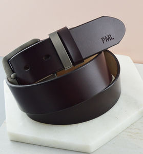 Men's Monogram Leather Belt - summer sale