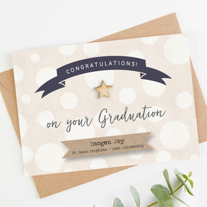 Personalised Graduation Card White Spot
