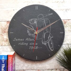 Personalised Slate Clock With A Scooter Design