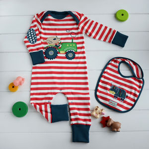 Pig On A Tractor Organic Cotton Playsuit Set - babygrows