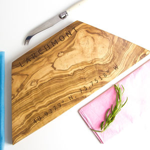 Personalised Coordinates Geometric Chopping Board - chopping boards