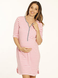 Pink And White Maternity And Nursing Nightie