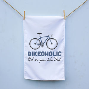 Personalised Bikeoholic Tea Towel - gifts for cyclists