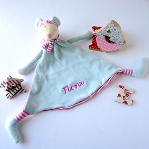 Personalised Blue And Pink Stripe Mouse Soother - baby's room