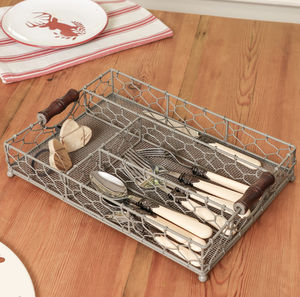 Grey Farmhouse Chickenwire Cutlery Tray - utensils