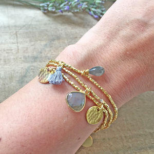 Elastic Gold Gemstone Friendship Bracelet Set - bracelets & bangles