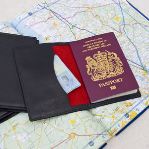 Black Leather Passport Travel Wallet