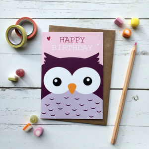 Cute Owl Birthday Card - birthday cards