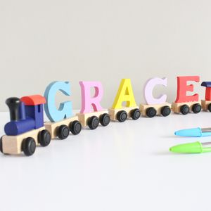 Personalised Coloured Wooden Name Train And Gift Bag - baby & child