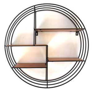 Round Black Metal And Copper Display Shelf - furniture