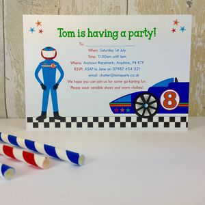 16 Racing Car Party Invites Or Thank You Notes