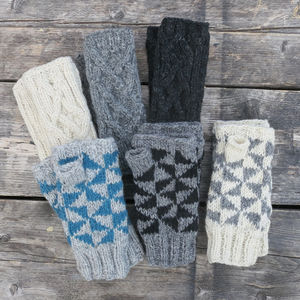 Raja Knit Wristwarmer Gloves - gloves