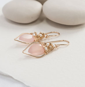 Pink Chalcedony Quartz Hoops With Freshwater Pearls - earrings