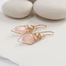 Pink Chalcedony Quartz Hoops With Freshwater Pearls