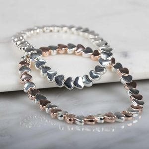Rose Gold And Silver Coloured Heart Bracelet