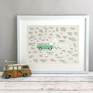 Personalised Campervan Wedding Guest Book Print