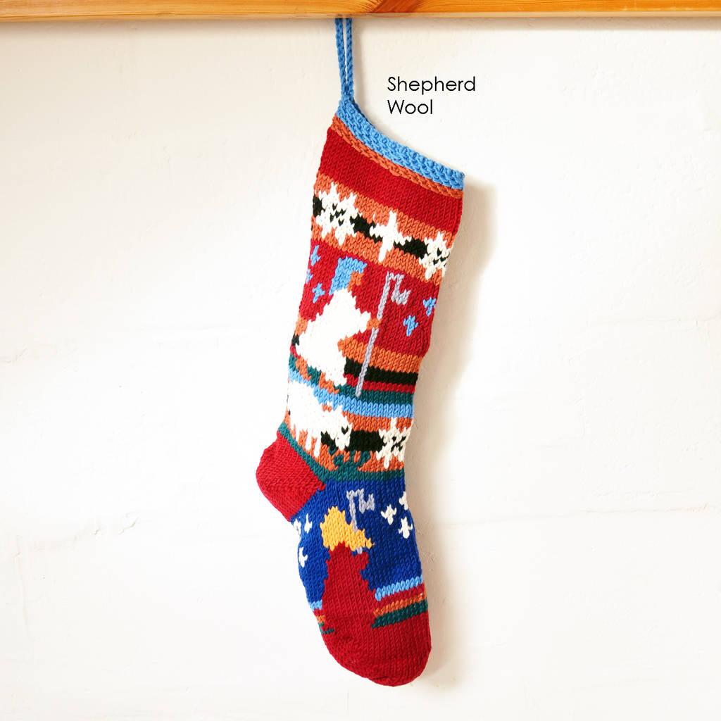 hand knitted christmas stocking by chunkichilli | notonthehighstreet.com