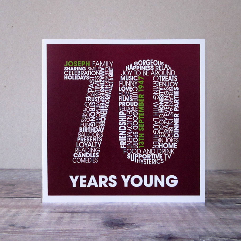 Personalised 70th Birthday Card With Male Name And Date Of Birth