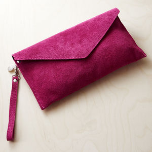 Personalised Suede Envelope Clutch - bags