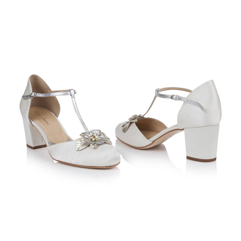 No Heel Wedding Shoes: Monaco Ivory Satin Block Heel Wedding Shoes By Rachel
