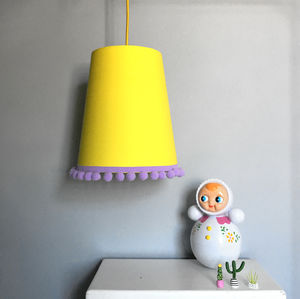 Tapered Lampshades In Plain Cottons With Pom Pom Trim