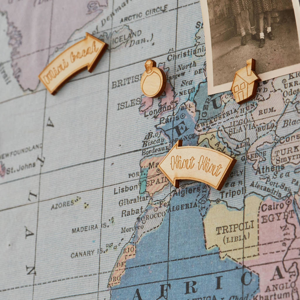 decorative wooden map push pins by the crafty traveller